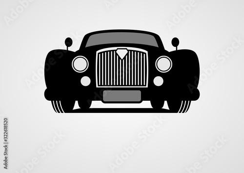 Fototapeta Generic retro car silhouette front view