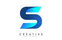 S Letter Logo Design With 3D And Ribbon Effect And Blue Gradient.