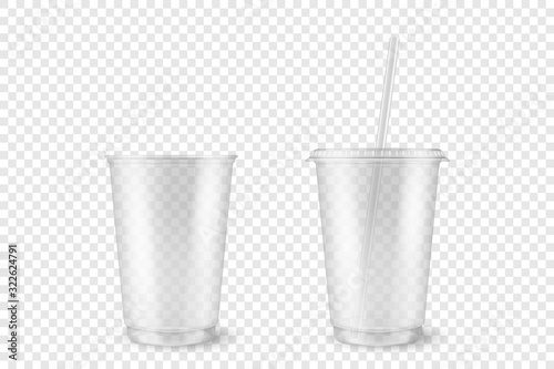 Cuadros en Lienzo Vector Realistic 3d Empty Clear Plastic Opened, Closed Disposable Cup with Straw Set Closeup Isolated on Transparent Background
