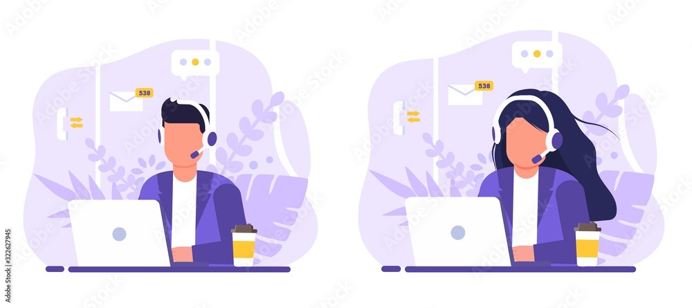 Fototapeta Customer service, operator set man and woman sitting at table with a laptop, with headphones and a microphone, around icons support elements, coffee and flowers . Flat style vector illustration.