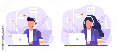Fotografiet Customer service, operator set man and woman sitting at table with a laptop, with headphones and a microphone, around icons support elements, coffee and flowers
