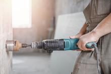 Builder Man Cutting Electrical...