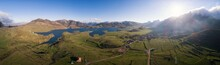 Casares Reservoir From Aerial View In Pano Mode