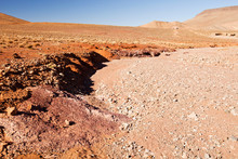 A Dried Up River Bed In The Anti Atlas Mountains Of Morocco, North Africa. In Recent Years, Rainfall Totals Have Reduced By Around 75% As A Result Of Climate Change. This Has Led To Many Berb