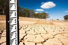 A Farmers Watering Hole On A Farm Near Shepperton, Victoria, Australia, Almost Dried Up. Victoria And New South Wales Have Been Gripped By The Worst Drought In Living Memory For The Last 15 Y
