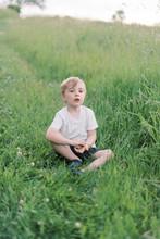 Little Boy Relaxing In A Grassy Meadow.