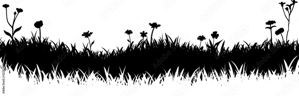 Meadow Grass Nature Silhouette Background Vector