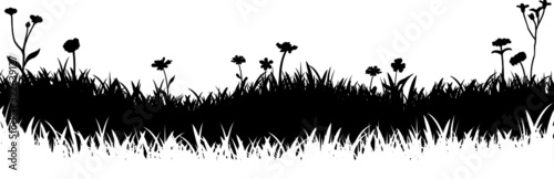 Fototapeta Meadow Grass Nature Silhouette Background Vector obraz