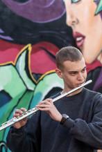 High School Jazz Band Musician Playing Transverse Flute