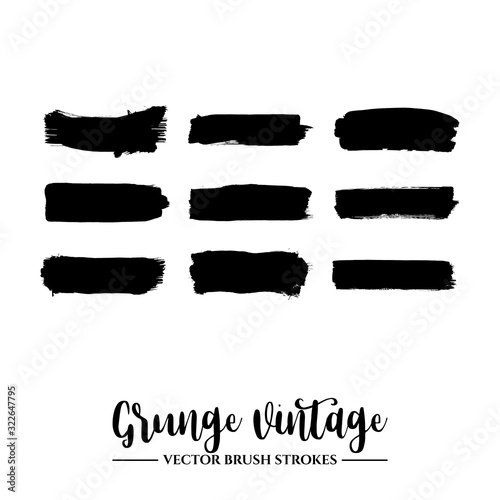 Fototapety, obrazy: Set of black brush stroke and texture. Grunge vector abstract hand - painted element. Underline and border.