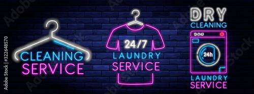 Fényképezés Dry cleaning service neon banner