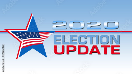 Election Update 16:9 banner with Red, White & Blue Star and USA flag Canvas-taulu