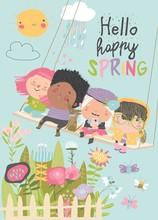 Happy Kids Flying On A Swing In Spring Garden