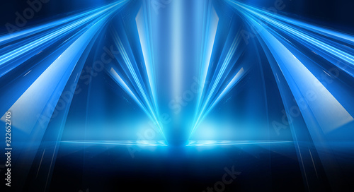 Fototapety, obrazy: Dark background with lines and spotlights, neon light, night view. Abstract blue background. Blue dark empty scene.