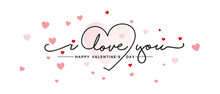 Love You Handwritten Typography Lettering Line Design Heart Pink Red Hearts Valentine's Day Greeting Card