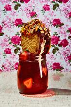 Cookie With Nuts In Jar Of Str...