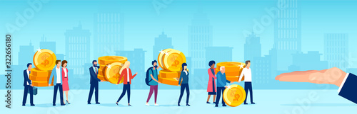 Vector of people caring giving away coins money to a big business man