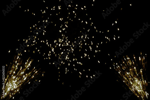 Photo Overlay in Your Image. Golden confetti on black background.