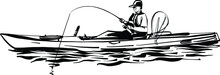 Illustration Of The Fisherman On A Boat In The Sea