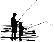 Silhouette Of The Father And S...