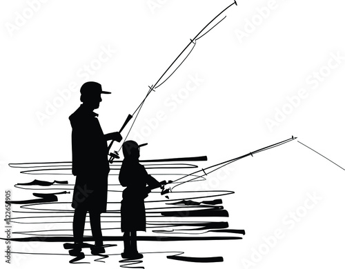 Fotografie, Obraz silhouette of the father and son fisherman