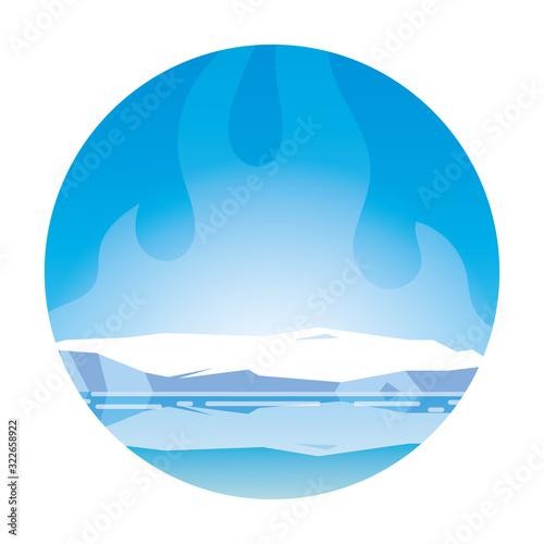 Fototapeta arctic landscape with blue sky and iceberg, north pole obraz