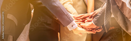 Foto Creative team meeting hands together synergy brainstorm business man woman, asian people teamwork acquisition, business people concept