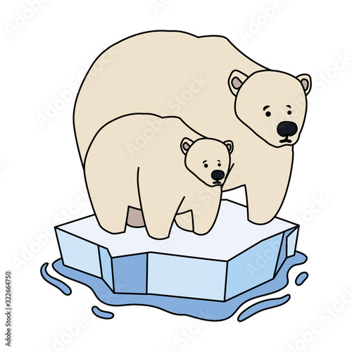 Fototapeta polar bear with cub at the winter landscape, mother and child obraz