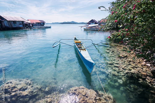 Beautiful landscape with blue sea, tropical islands and fishing houses on stilts in mangrove lagoon, Siargao Island, Philippines Wallpaper Mural