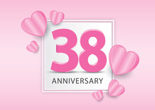 38 Years Anniversary Logo Celebration With Heart Background. Valentine's Day Anniversary Banner Vector Template