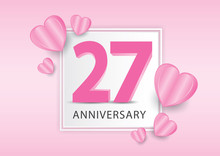27 Years Anniversary Logo Celebration With Heart Background. Valentine's Day Anniversary Banner Vector Template