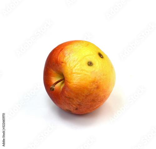 Valokuvatapetti Overripe Rotten apple isolated on a white background