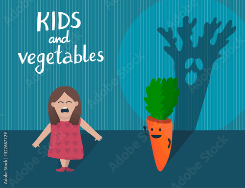 Girl and carrot with ugly scary shade Wallpaper Mural