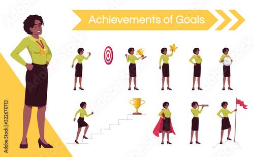 Woman setting goals flat vector illustrations set Slika na platnu