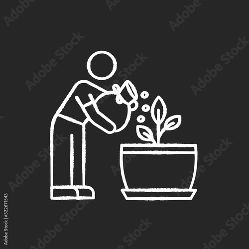 Vászonkép Fertilizing seedling chalk white icon on black background