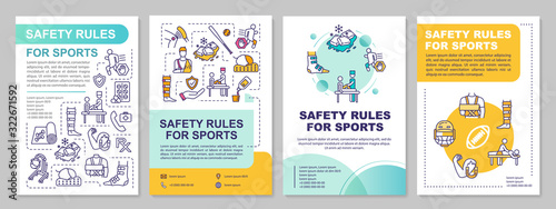 Safety rules for sport, health, proper exercise brochure template Tablou Canvas