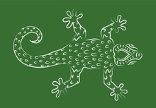 Hand Drawn Line Art With Gecko...