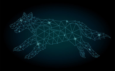 Starry low poly art with shiny wolf silhouette