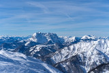 beautiful panoramic view over the Austrian Alps t, blue sky with some clouds
