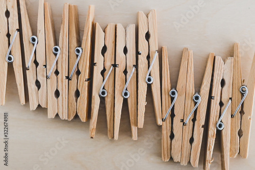 group of wooden peg to hang the washing, sustainable living and alternative to p Canvas Print