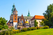 Summer View Of Wawel Royal Castle Complex In Krakow, Poland. Wawel Castle Is The Most Historically And Culturally Important Site In Poland