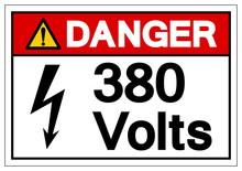 Danger 380 Volts Symbol Sign, ...