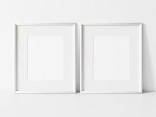 Two Vertical White Frame Mockup. White Frame On White Table Mock Up. 3d Illustrations.