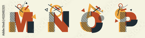 Photo Vector Constructivism Abstract Alphabet Set - letters M, N, O, P with geometric composition