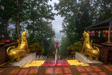 Phra That Khao Noi-Nan Temple:August 11,2019,female Tourists Travel To See Beauty And Stop Making Merit During Travel In Northern Thailand,in The Area Of Du Tai On The Top Of Doi Khao Noi, Thailand