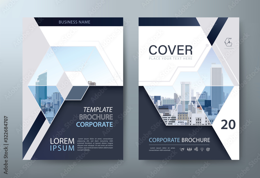 Fototapeta Annual report brochure flyer design, Leaflet presentation, book cover templates, layout in A4 size. vector.