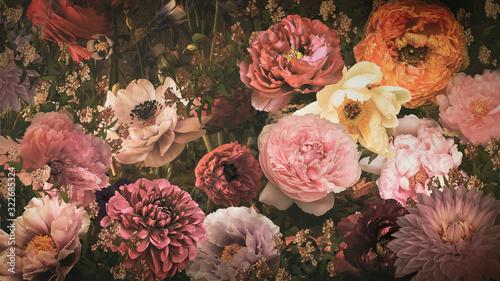 カラフルな大輪の花々(ビンテージ)