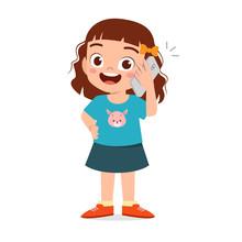 Happy Cute Little Kid Girl Use Phone