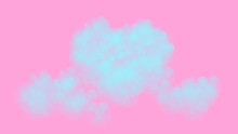 Abstract Blue Heart Shaped Clouds In Watercolor Style On Pink Background For Valentine's Day