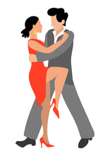 Vector Illustration With A Passionate Couple Who Dance Tango In Flat Style. A Sexy Woman In A High Heeled Dress And A Man In A Gray Suit Are Dancing Together